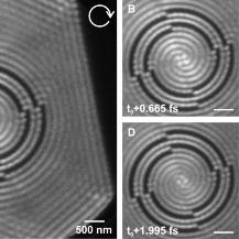 Experimental electron microscopy images of short-range surface plasmons with orbital angular momentum l=4.  University of Duisburg-Essen, Image taken by Frank Meyer zu Heringdorf, Philip Kahl, and Daniel Podbiel.