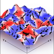 Visualization of the topography of magnesium with nanometer resolution covered with an optical scattering phase map showing hydrogenated and unhydrogenated areas (depicted area: 1 µm x 1 µm).  University of Stuttgart / PI 4