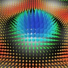 Gezoomte Visualisierung des elektrischen Feldes von Skyrmionen